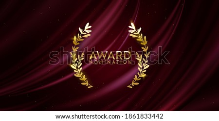 Award nomination design banner. Golden winner glitter background with laurel wreath. Vector ceremony luxury invitation template, realistic silk abstract fabric texture, prize nominee business