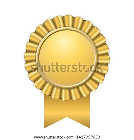 Award ribbon gold icon. Golden medal design isolated on white background. Symbol of winner celebration, best champion achievement, success trophy seal. Blank rosette element Vector illustration Stockfoto ©