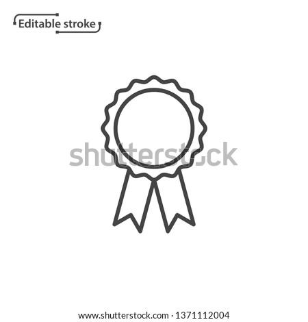 Award rosette with ribbon vector icon. Editable stroke. Stockfoto ©