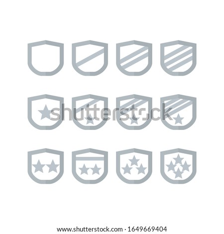 Award silver badge insignia icons military rank, level, trophy, play, game, appreciation, gift and give