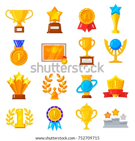 Award trophy icon set. Gold professional and corporate awards for outstanding achievements in work and study. Vector flat style cartoon illustration isolated on white background