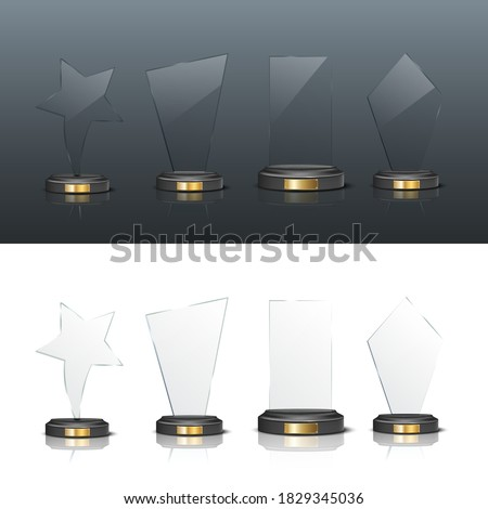 Award trophy set. Star and rectangle shaped glass prize statues on white and black background. Champion glory in competition vector illustration. Hollywood fame in film or championship in sport.