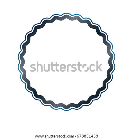 Award vintage circular frame with clear copy space made as art medallion design decorated with curves and undulate lines. Vector retro style label, mirror border.