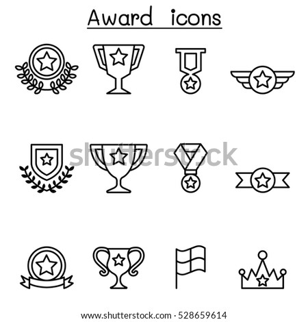 Award & Winning icon set in thin line style