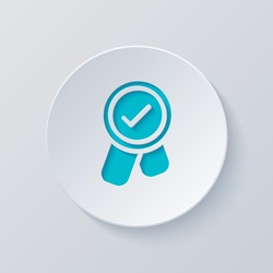 Award with ribbon and check mark, icon. Cut circle with gray and blue layers. Paper style