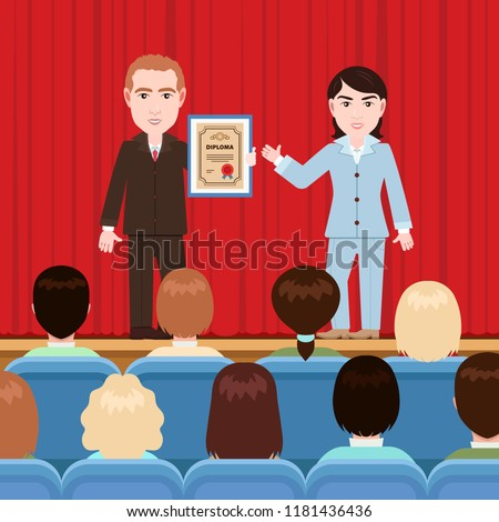 Awarding of a diploma, patent, vector illustration, flat cartoon drawing. Woman hands man a certificate in a frame on stage with a curtain in front of the audience in the auditorium, solemn rewarding