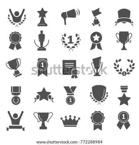 Awards and prizes simple icons set for web and mobile design