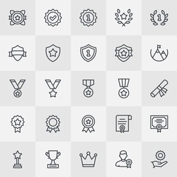 Awards And Ribbons Thin Line Icon Set. Achievement Icons for Professional Web Design, Mobile App Design, Infographic and so on.