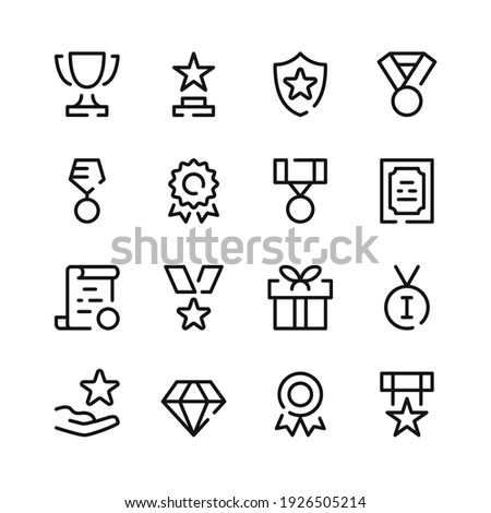 Awards icons. Vector line icons. Simple outline symbols set Photo stock ©