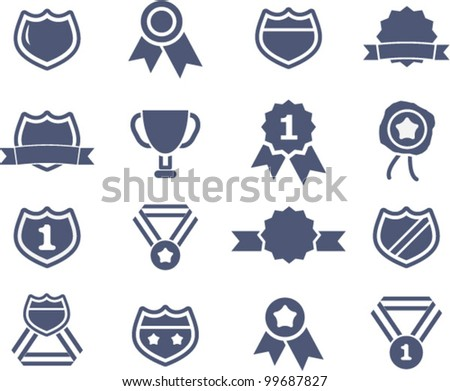 awards lables icons set, vector