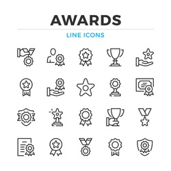 Awards line icons set. Modern outline elements, graphic design concepts, simple symbols collection. Vector line icons