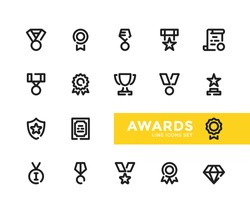 Awards line icons set. Modern outline symbols collection, minimal style simple linear graphic design elements. Vector line icons