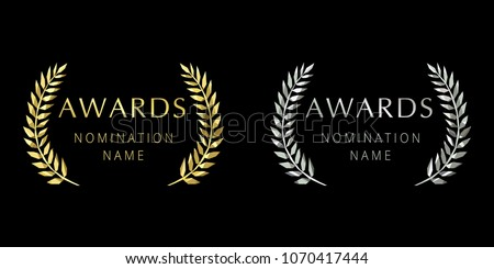 Awards logotype. Isolated elegant abstract gold, silver emblem. First 1st and second place symbol. Luxurious congratulating framed template. Celebrating decorative traditional stained glass greetings.