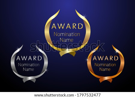 Awards logotype set. Isolated abstract graphic design template. First, second, third place symbol. Metal gradient shining collection. Decorative congrats. Tradition greeting. Round palm. Cup elements.