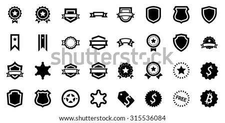 Awards Reward Prize Badge Glyph Vector Icon Set