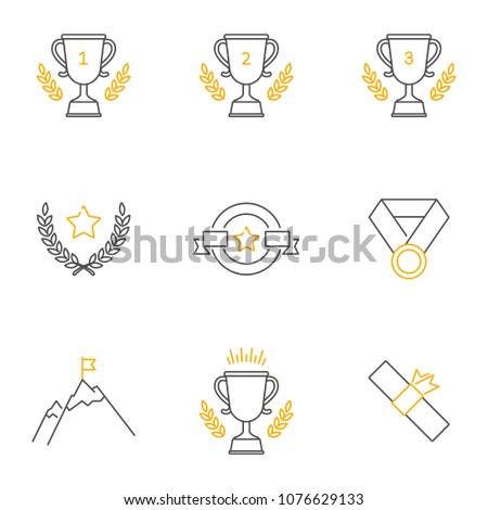 Awards vector icons set, outline style. Editable stroke