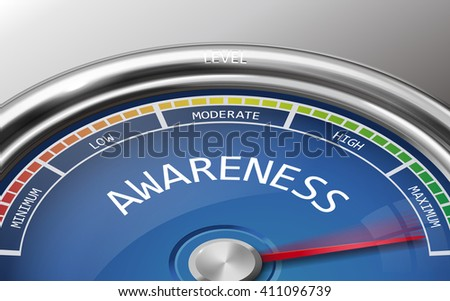 awareness conceptual 3d illustration meter indicator isolated on grey background