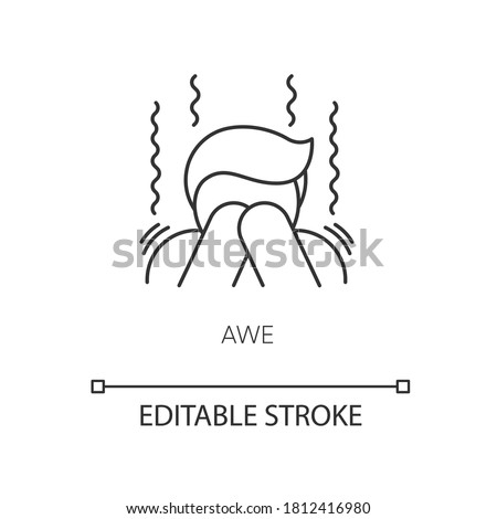 Awe pixel perfect linear icon. Human feeling, emotional reaction. Thin line customizable illustration. Contour symbol. Trembling, shocked person vector isolated outline drawing. Editable stroke Stock photo ©