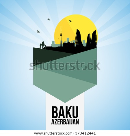 awesome baku city icon vector