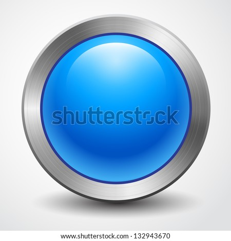 Awesome big blue button isolated