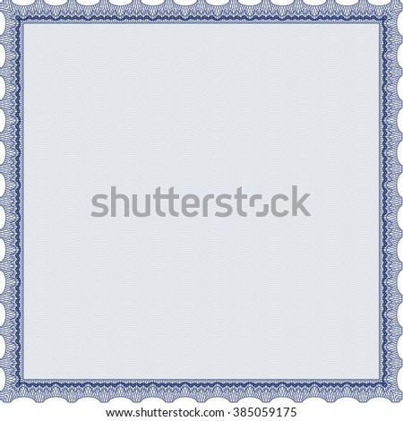 Awesome Certificate template. With great quality guilloche pattern. Award. Money Pattern. Blue color.