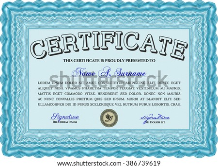 Awesome Certificate template. With great quality guilloche pattern. Award. Money Pattern. Light blue color.