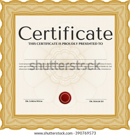Awesome Certificate template. With great quality guilloche pattern. Award. Money Pattern. Orange color.