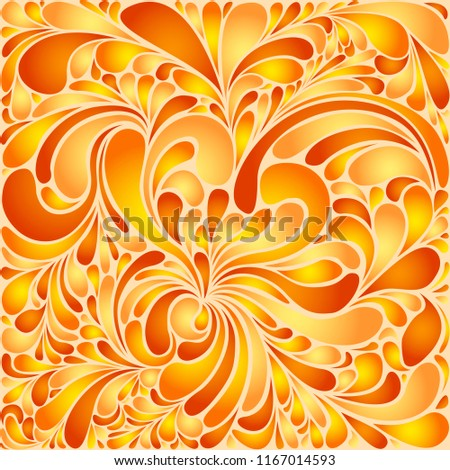 Awesome floral twirls stylized organic tile sample in autumn colors. Silk texture fluid shapes, orange gradient color branches elegant floral pattern, stylized flower organic print, vector background.