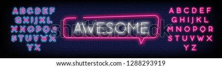 Awesome Neon Text Vector. Awesome neon sign  design template  modern trend design  night neon signboard  night bright advertising  light banner  light art. Vector illustration. Editing Text Neon Signs