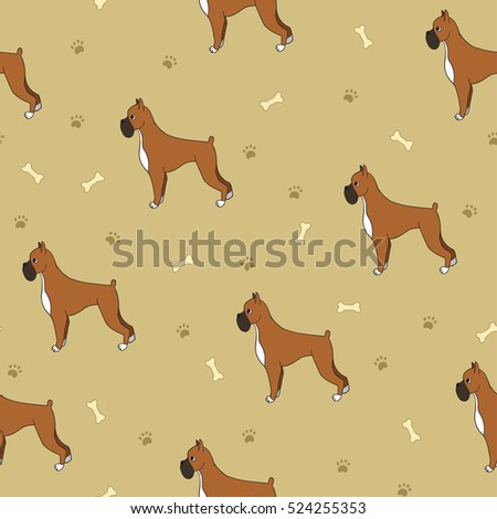 Awesome Seamless Pattern With Dogs Bones And Paws Boxer Breed For Wallpaper