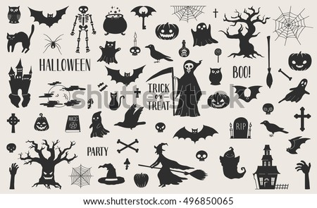 Awesome set of cut out scary Halloween elements.Vector eps10.