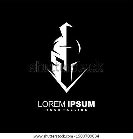 awesome spartan helmet logo design Zdjęcia stock ©