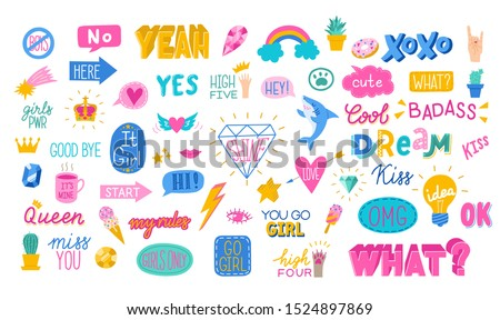 Awesome sticker collection in trendy hand drawn style with bubble speech text, cool shark idea bulbs and girl power themed stickers for social networks or any other purposes. Vector eps10.