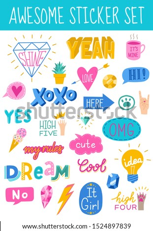 Awesome sticker collection in trendy hand drawn style with cool bubble speech and girly stickers for social networks or any other purposes. Vector eps10.