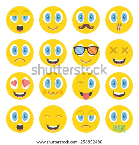 awesome vector emoticons set