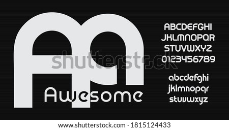 Awesome Vector font, bauhaus style font. Rounded uppercase and lowercase letters. Softed geometric alphabet for typographic posters, ads, logo, identities, packaging, graphics. Typography design Stock fotó ©