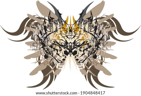 Awful butterfly wings in pastel tones. Abstract dangerous butterfly with an unusual pattern inside and elements of eagle feathers on a white background for wallpaper, prints, textiles, etc.