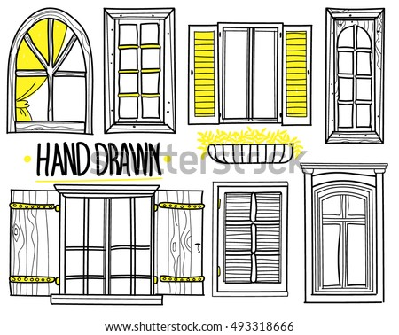 A set of drawings by hand. shuttered windows open windows modern  sc 1 st  Vecteezy & Window Drawings - Download Free Vector Art Stock Graphics \u0026 Images