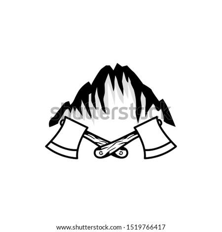 axe and mountain logo symbol