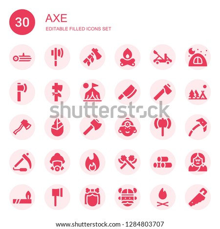 axe icon set. Collection of 30 filled axe icons included Log, Axe, Ax, Bonfire, Catapult, Camp, Cleaver, Hand axe, Indian, Scythe, Firefighter, Wood, Camping, Ice Troglodyte