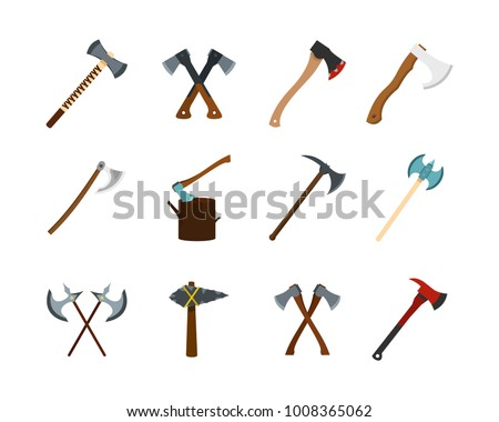 Axe icon set. Flat set of axe vector icons for web design isolated on white background
