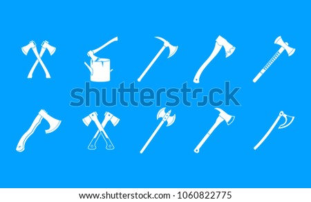 Axe icon set. Simple set of axe vector icons for web design isolated on blue background