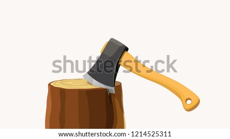 axe in stump with shadow