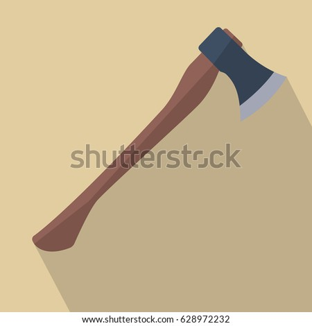 Axe with wooden handle. Flat design vector illustration