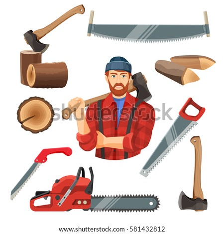 Axeman instruments set. Axeman saw, tree trunk stump, two and one handle saws, axeman with ax, petrol-driven power saw isolated. Realistic vector illustration of carpentry items for sawing wood