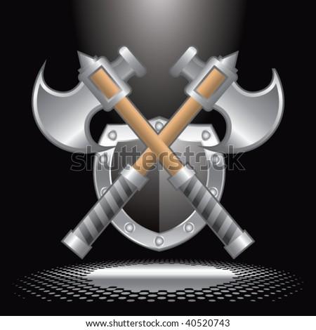 axes and shield under spotlight