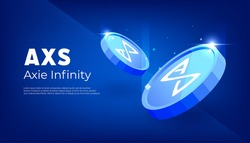 Axie Infinity AXS token banner. AXS coin cryptocurrency concept banner background.