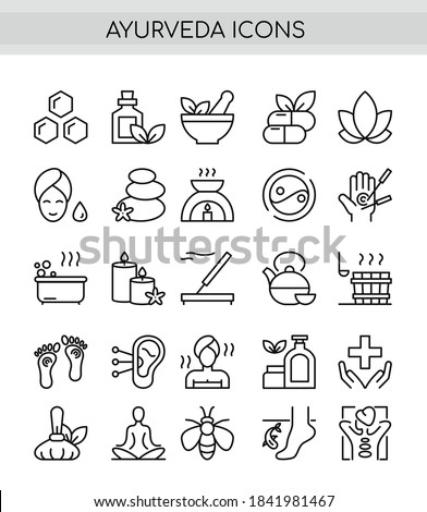 Ayurveda thin line icons set. Outline pictogram vector illustration, aroma therapy, ayurvedic collection with symbols of healthy alternative medicine, acupuncture and acupressure