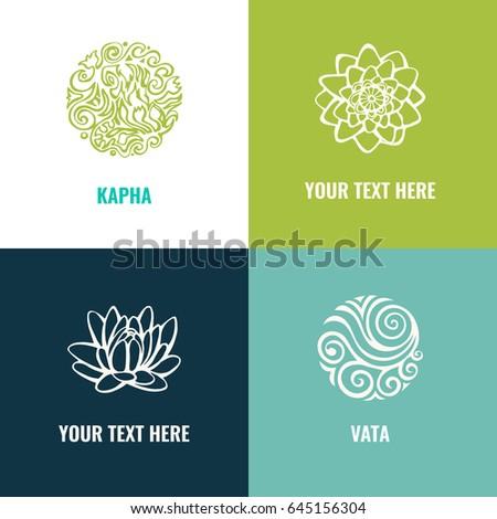 Ayurveda vector illustration. Vata, pitta, kapha doshas.Harmony with nature.