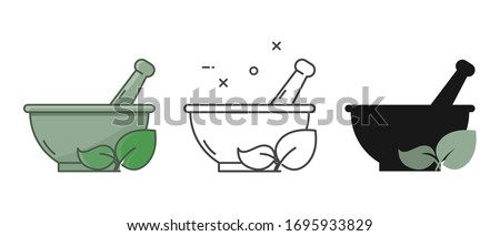 Ayurvedic medicine bowl in different style on white background. Mortar and pestle sign. Herbal medicine concept. Isolated. Flat style. Stockfoto ©